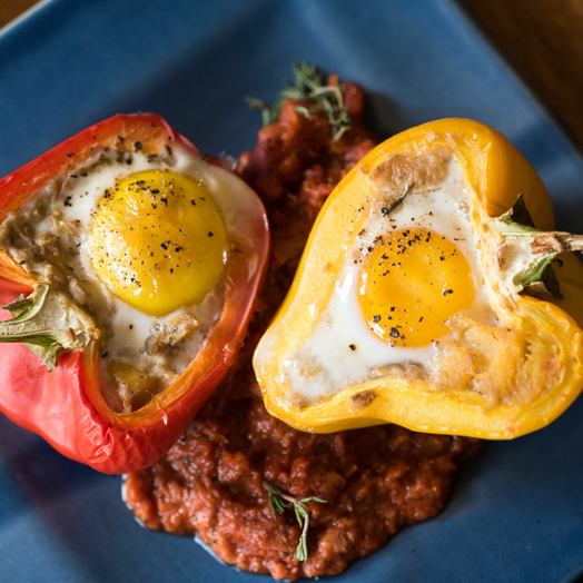 Baked Eggs In Stuffed Peppers Peppers Sweet Boston