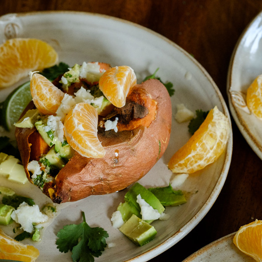 Loaded Baked Sweet Potatoes with Ginger Citrus Vinaigrette