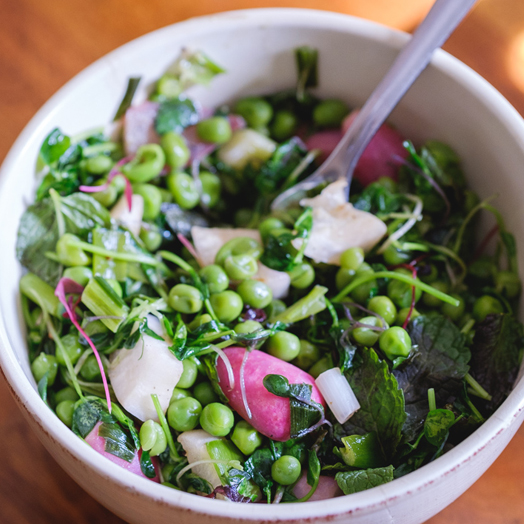 Peas and Pea Shoots with Spring Onions and Mint