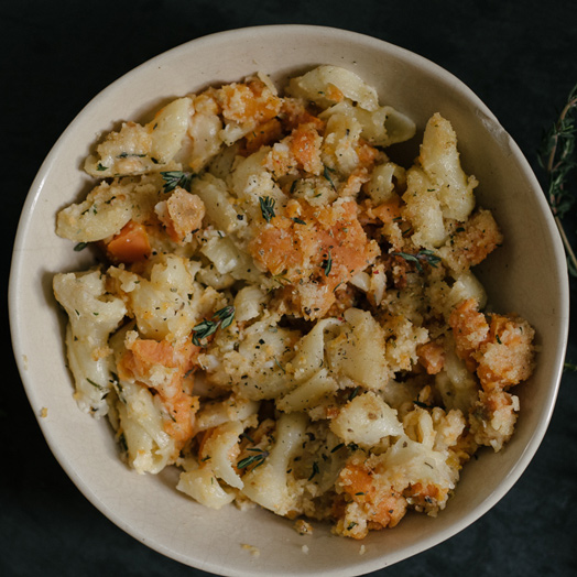 Caramelized Sweet Potato, Garlic, and Rosemary Macaroni & Cheese