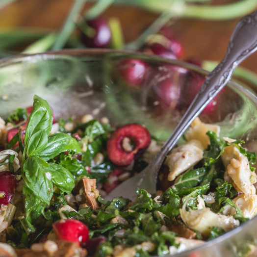 Kale and Brown Rice Salad with Cherries