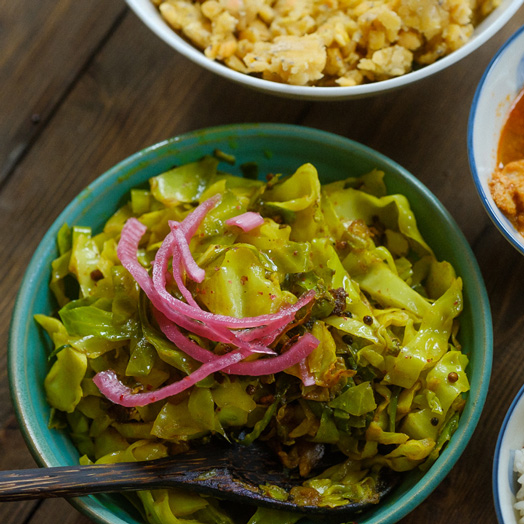Spicy Yellow Indian Cabbage