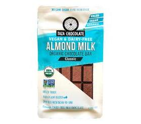 Taza Chocolate Organic Almond Milk Chocolate Bar, Classic
