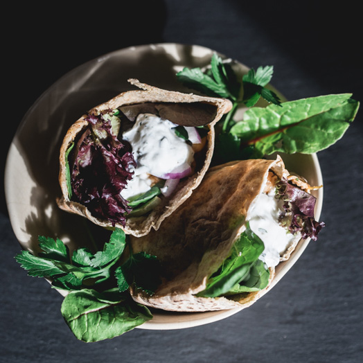 Chickpea Pita Pockets with Greens and Minted Yogurt