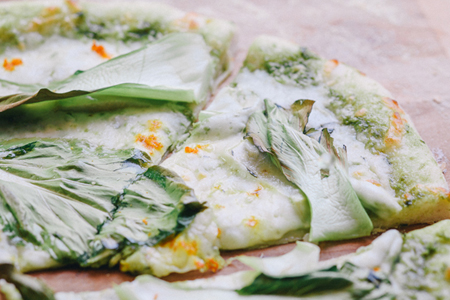 Kohlrabi and Bok Choy Pizza
