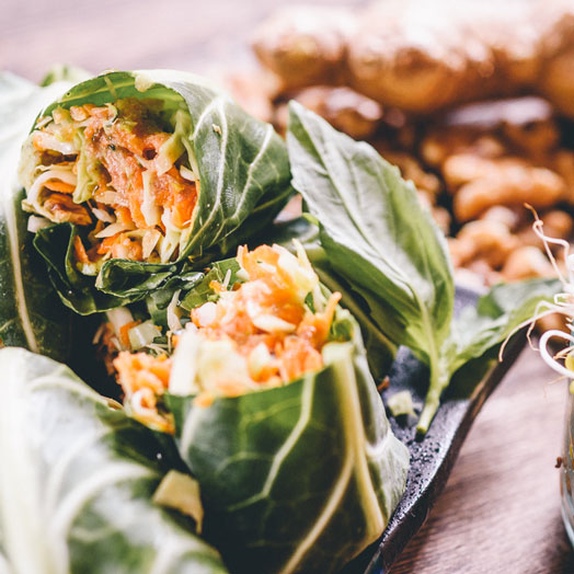 Raw Collard Green Wraps