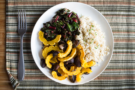 Roasted Delicata Squash with Mushrooms and Thyme