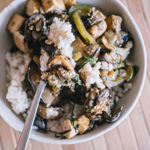 Sriracha Tofu with Eggplant and Basil