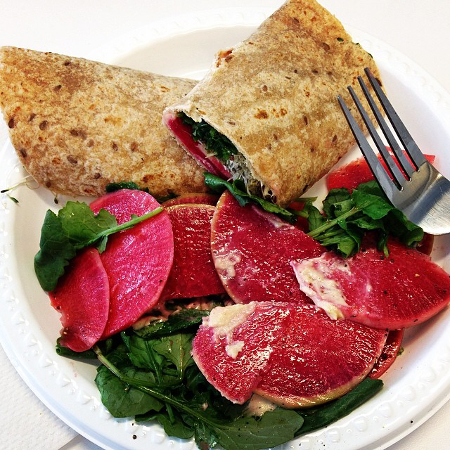 Watermelon Radish and Kale Wrap